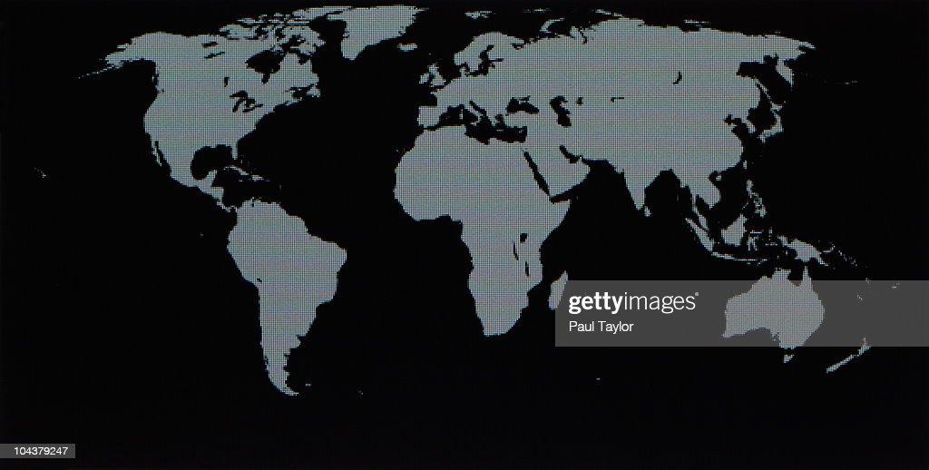 World Map on Computer Monitor : Stock Photo