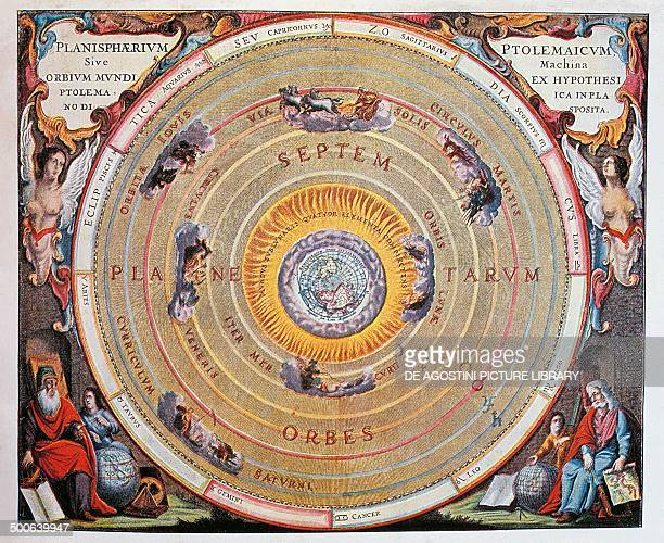 World Map study of the Earth based on Ptolemy's theories engraving from Harmonia Macrocosmica by Andreas Cellarius Amsterdam The Netherlands Paris...