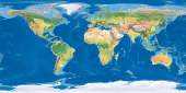 world map Terrain National Border