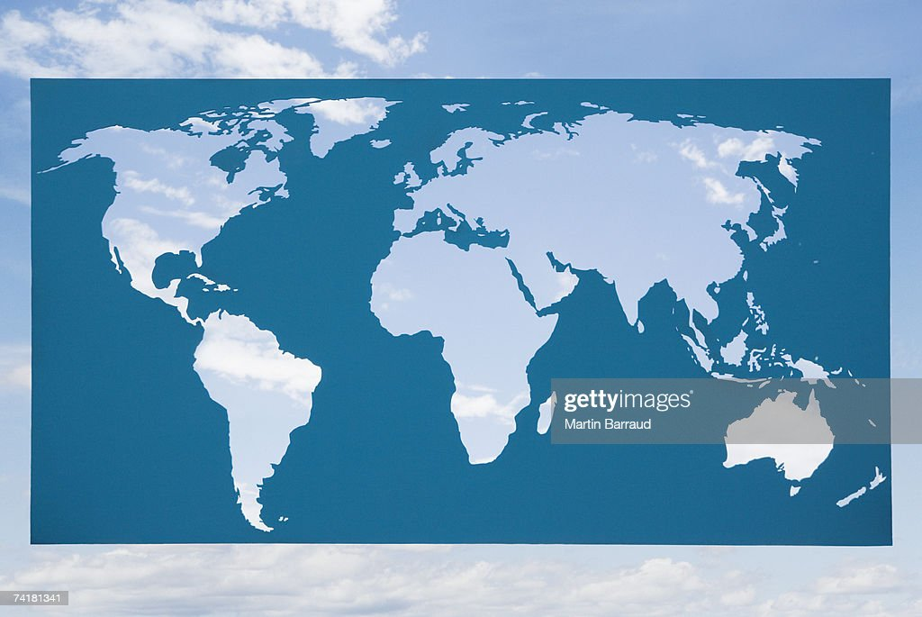 World map with blue sky and clouds : Stock Photo