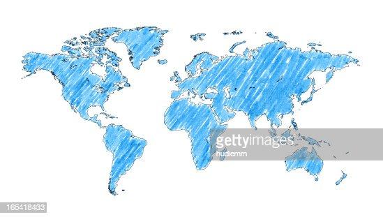 World map with brush stroke isolated on white background