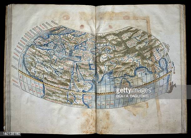 World map with climate sections and zodiac signs illustration from Alexandrini liber geographiae by Claudius Ptolemy edition published in Venice in...