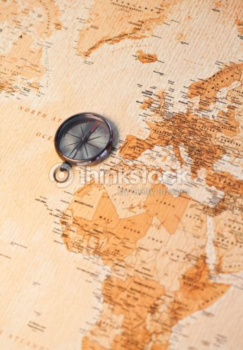 World Map With Compass Showing Africa And Europe Stock-Foto | Thinkstock