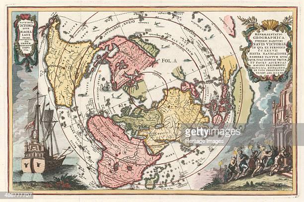 World map with Magellans circumnavigation 17021703 Artist Scherer Heinrich