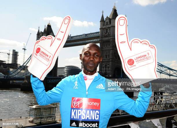 World Marathon Record Holder Kenya's Wilson Kipsang during the press conference at Tower Bridge London