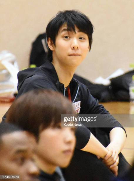 World men's figure skate champion Yuzuru Hanyu takes part in a Japanese Olympic Committee workshop in Tokyo on April 28 2017 With the Pyeongchang...