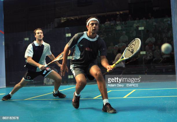 World number one Amr Shabana from Egypt in action against Germany's Simon Rosner