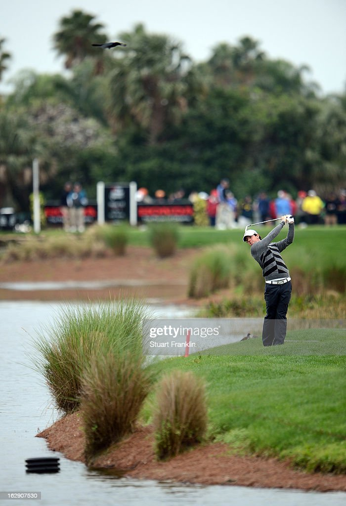 World number one and defending champion, Rory McIlroy of Northern Ireland plays a shot on the 16th hole where he took a triple bogey seven during the second round of the Honda Classic on March 1, 2013 in Palm Beach Gardens, Florida.