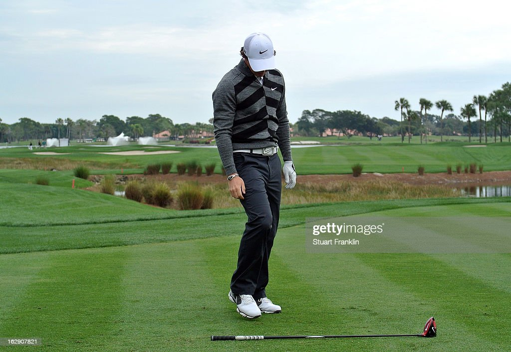 World number one and defending champion, Rory McIlroy of Northern Ireland looks at his club on the 18th hole, his nineth during the second round of the Honda Classic on March 1, 2013 in Palm Beach Gardens, Florida.