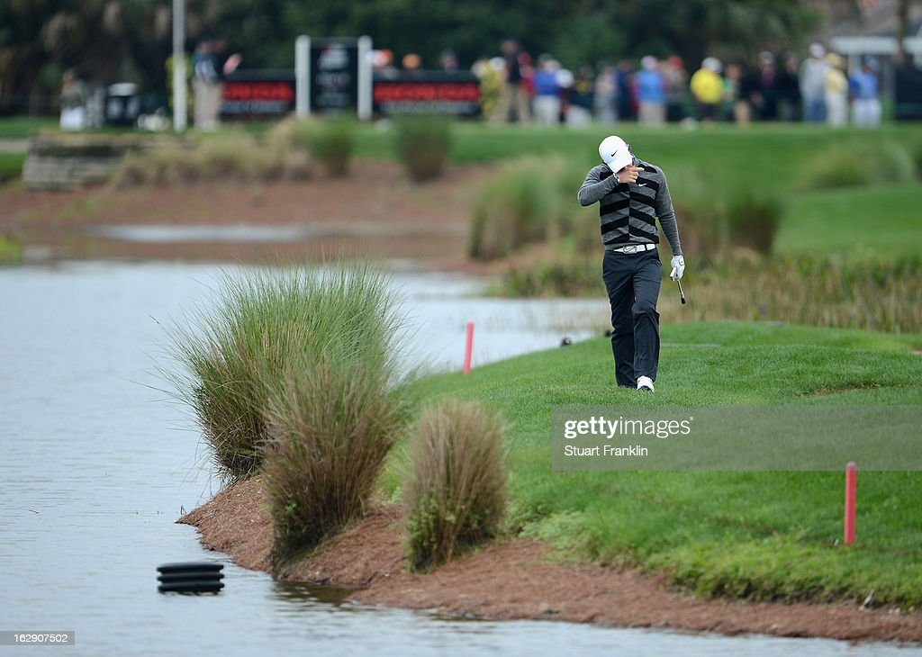 World number one and defending champion, Rory McIlroy of Northern Ireland looks dejected on the 16th hole where he took a triple bogey seven during the second round of the Honda Classic on March 1, 2013 in Palm Beach Gardens, Florida.