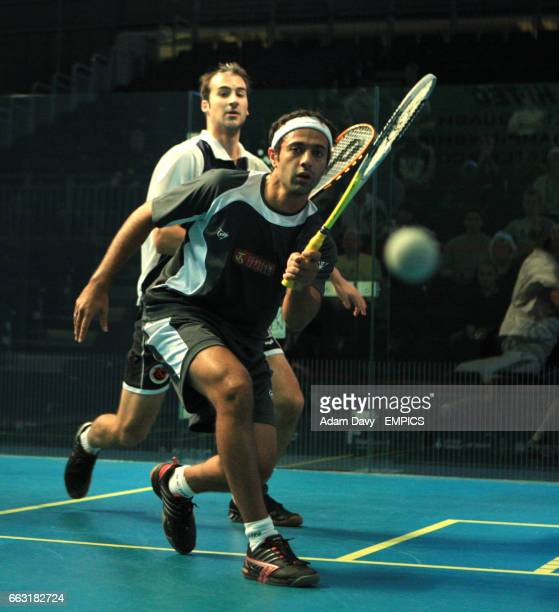 World number one Egypt's Amr Shabana on his way to defeating Germany's Simon Rosner