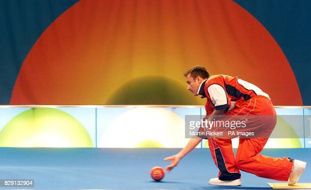 World Number One Indoor bowls champion Scotland's David Gourlay in action against Chrisite Grahame of Canada during the BUPA Care Homes Open Bowls...