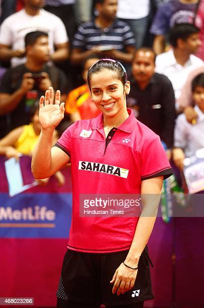 World number one player Saina Nehwal celebrate victory against Ratchanok Intanon badminton player from Thailand during the Yonex Sunrise India Open...