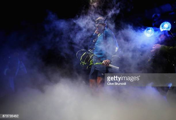 World number one Rafael Nadal of Spain waits backstage to walk out on to the court for his first round robin match against David Goffin of Belgium at...