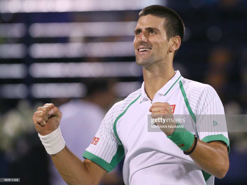 World number one Serbia's Novak Djokovic celebrates after beating Argentina's Juan Martin Del Potro 6-3, 7-6 during their ATP Dubai Open tennis semi-final match in the Gulf emirate on March 1, 2013.