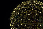 """Close up of the geodesic dome of Science World in Vancouver, BC at night. Vancouver lightbox"""