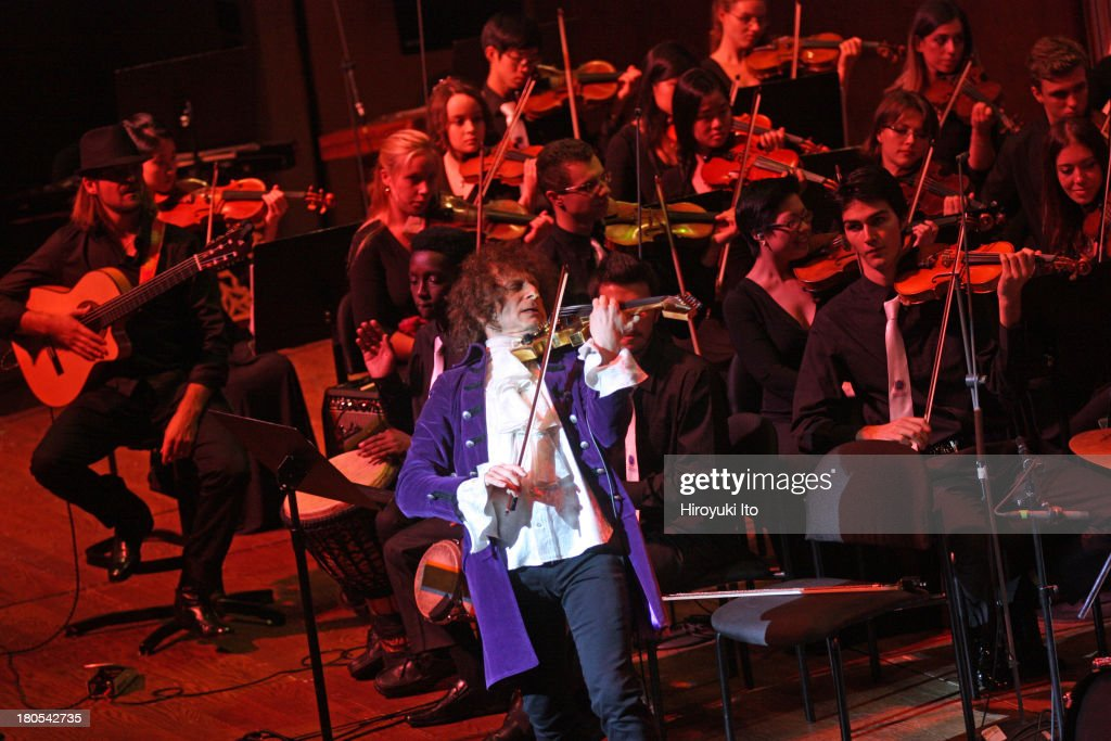 World Peace Orchestra performing at Avery Fisher Hall on Tuesday night, September 10, 2013.This image:The violinist Alexander Markov performing his 'The Rock Concerto' with the World Peace Orchestra.