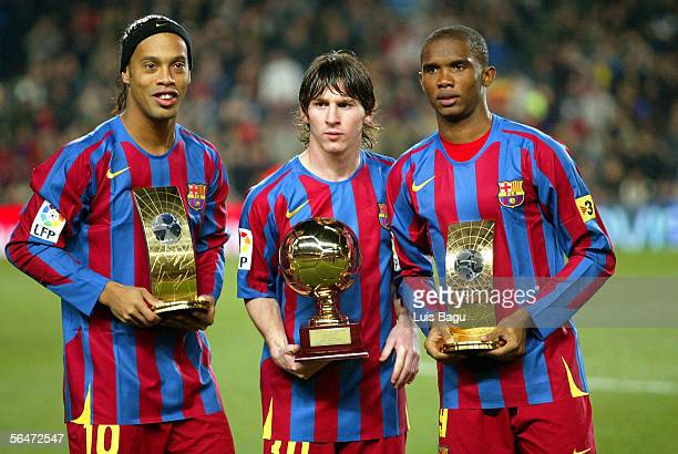 World player of the year winner Ronaldinho the Gillette Best Young Player Award Leo Messi and third place FIFA World player of the year Samuel Etoo...