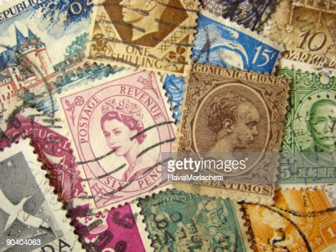 World Postage Stamps : Stock Photo