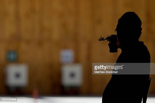 World recod holder and Olympic gold medalist Jongoh Jin of South Korea competes in the men 50m Pistol competition during the International Shooting...