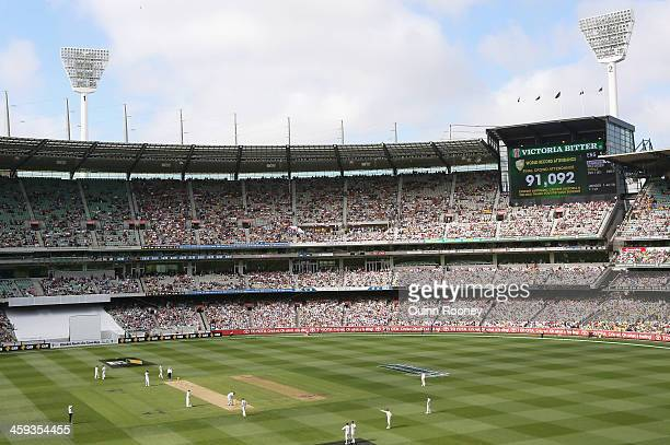 World Record Attendance of 91092 is projected on the scoreboard during day one of the Fourth Ashes Test Match between Australia and England at...