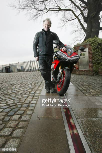 World record breaker Nick Sanders prepares to set off from the Meridian Time Line in Greenwich London as he embarks on the toughest motorcycle...