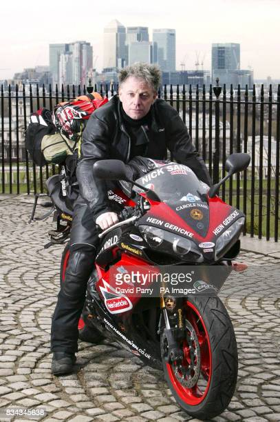 World record breaker Nick Sanders prepares to set off from the Meridian Time Line in Greenwich London on his Yamaha R1 motorcycle as he embarks on...