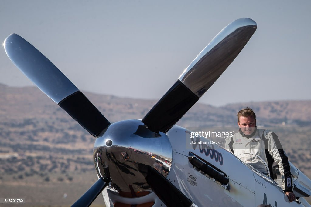 World record holder Steve Hinton climbs into his plane named Voodoo before the unlimited gold class heat at the Reno Championship Air Races on September 17, 2017 in Reno, Nevada.