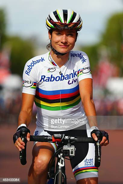 World Road Race Champion Champion Marianne Vos of the Netherlands and the RaboLiv team waits for the start of the Prudential RideLondon Grand Prix...