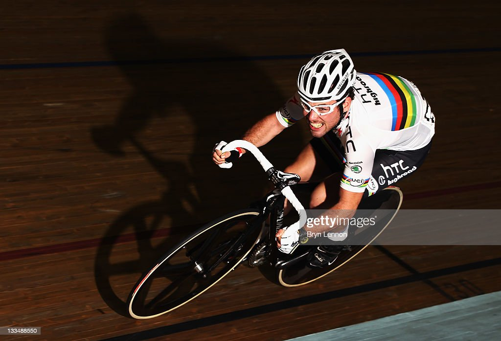 World Road Race Champion Mark Cavendish of Great Britain rides in the 1km Madison Time Trial during Revolution 34 at Manchester Velodrome on November...