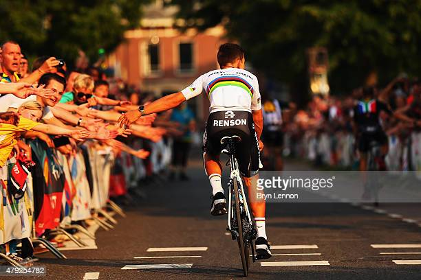World Road Race Champion Michal Kwiatkowski of Poland and EtixxQuick Step attends the 2015 Tour de France Team Presentation on July 2 2015 in Utrecht...