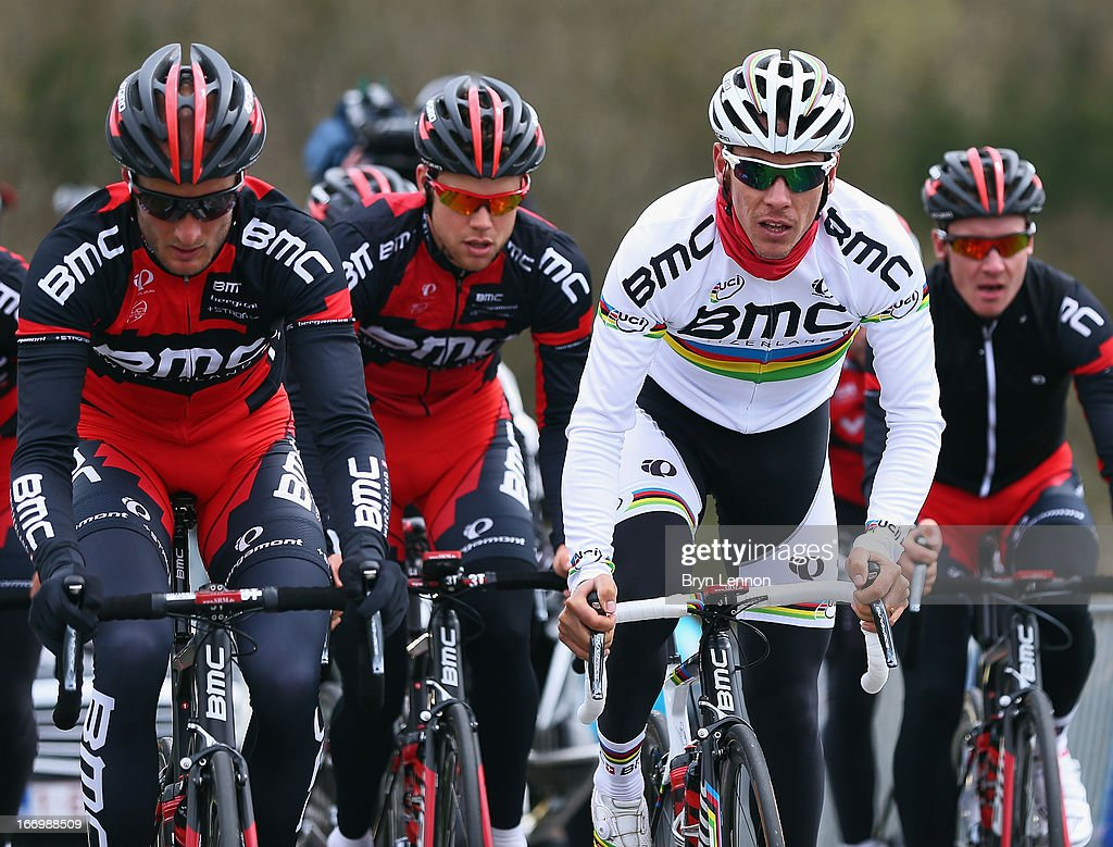 World Road Race Champion <a gi-track='captionPersonalityLinkClicked' href=/galleries/search?phrase=Philippe+Gilbert&family=editorial&specificpeople=578487 ng-click='$event.stopPropagation()'>Philippe Gilbert</a> climbs the Cote de La Redoute during training for the 99th Liege-Bastogne-Liege cycle road race on April 19, 2013 in Liege, Belgium. (Photo by Bryn Lennon/Getty Images).