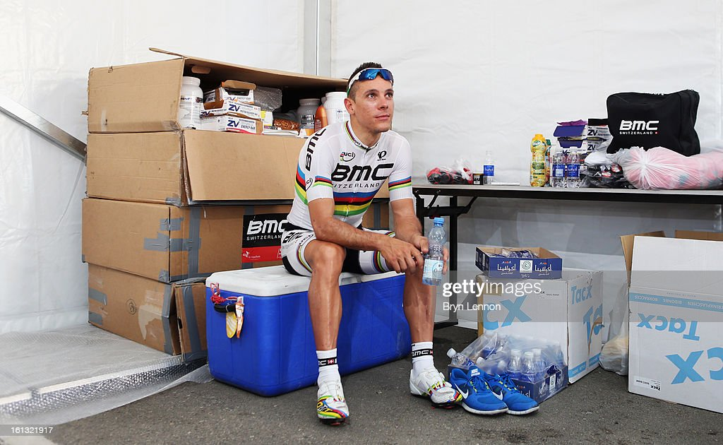 World Road Race Champion <a gi-track='captionPersonalityLinkClicked' href=/galleries/search?phrase=Philippe+Gilbert&family=editorial&specificpeople=578487 ng-click='$event.stopPropagation()'>Philippe Gilbert</a> of Belgium and the BMC Racing Team sits in his team's pits prior to training for the 2013 Tour of Oman on February 10, 2013 in Muscat, Oman. The race will start tomorrow with a 162km stage from Al Musannah to Sultan Qaboos University.