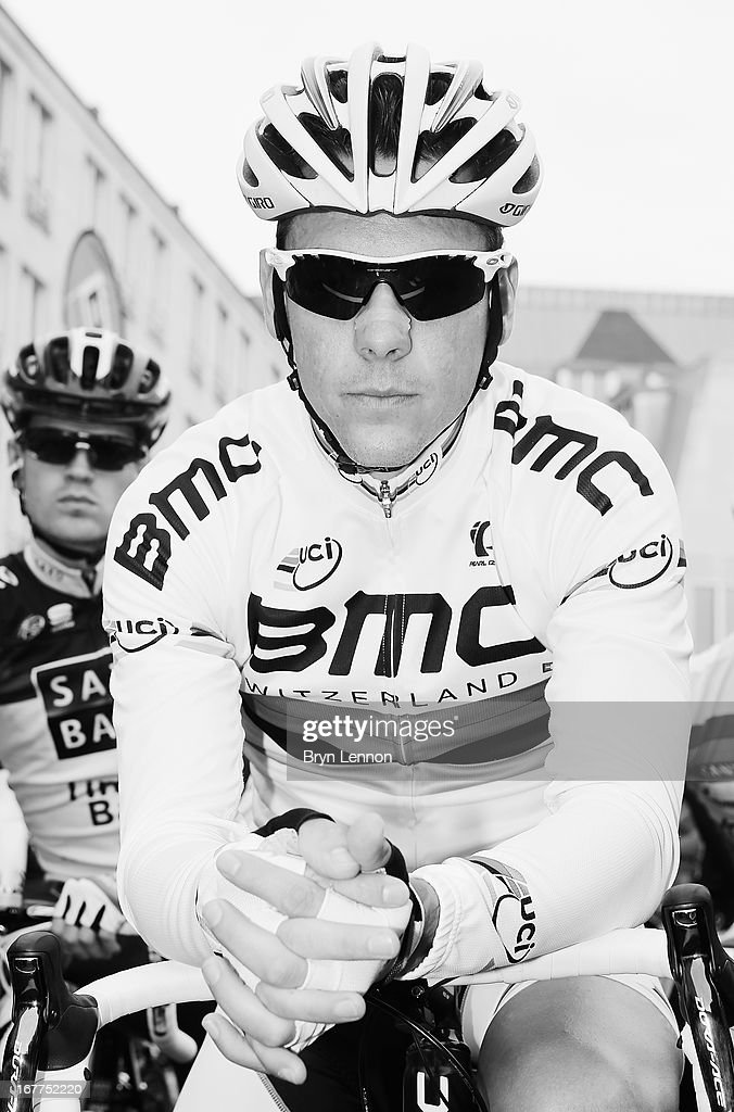 World Road Race Champion <a gi-track='captionPersonalityLinkClicked' href=/galleries/search?phrase=Philippe+Gilbert&family=editorial&specificpeople=578487 ng-click='$event.stopPropagation()'>Philippe Gilbert</a> of Belgium and the BMC Racing team looks on at the start of the 99th Liege-Bastogne-Liege road race on April 21, 2013 in Liege, Belgium. (Photo by Bryn Lennon/Getty Images).