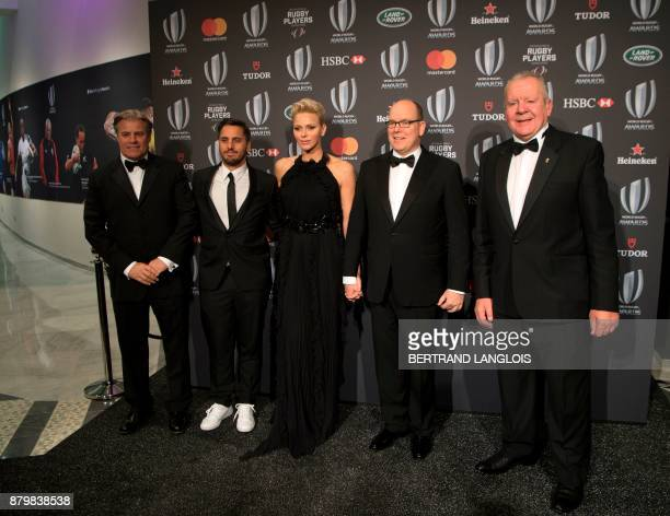 World Rugby CEO Brett Gosper World Rugby ViceChairman Agustin Pichot Princess Charlene of Monaco Prince Albert II of Monaco and World Rugby Chairman...