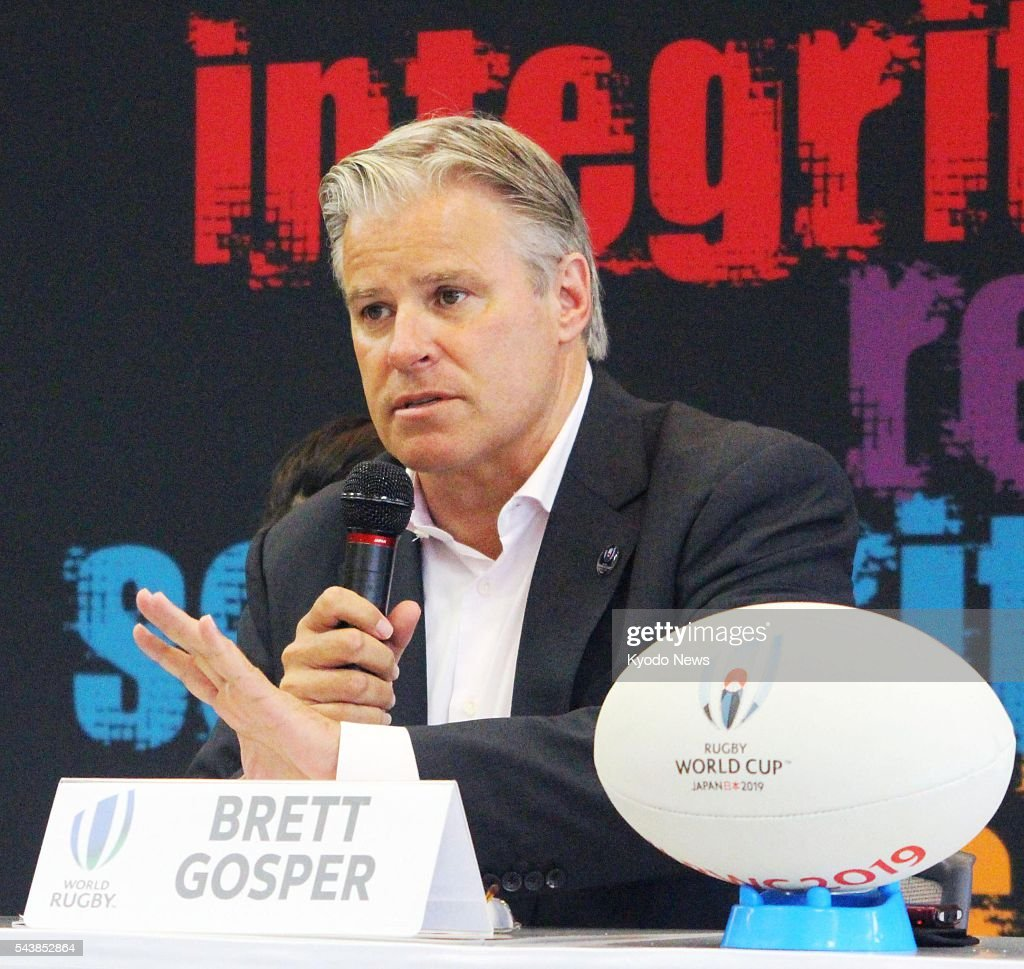 World Rugby Chief Executive Brett Gosper speaks at a press conference in Tokyo on June 30, 2016, the same day the organizing committee for the 2019 World Cup in Japan announced that its draw will be hosted in the western Japan city of Kyoto in May next year. Gosper said the draw will be an opportunity to promote the Japan tournament to an international audience, and that holding the draw in Kyoto would help entice potential visitors to come to Japan.