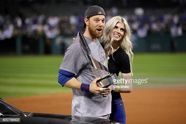 World Series MVP Ben Zobrist of the Chicago Cubs celebrates with his wife Julianna Zobrist after defeating the Cleveland Indians 87 in Game Seven of...