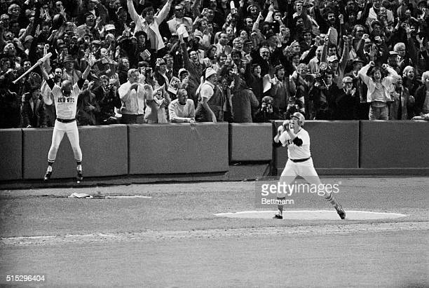 World Series6th GameBoston Carlton Fisk of the Red Sox jumps with joy after hitting the game winning home run in the 12th inning The Red Sox winning...