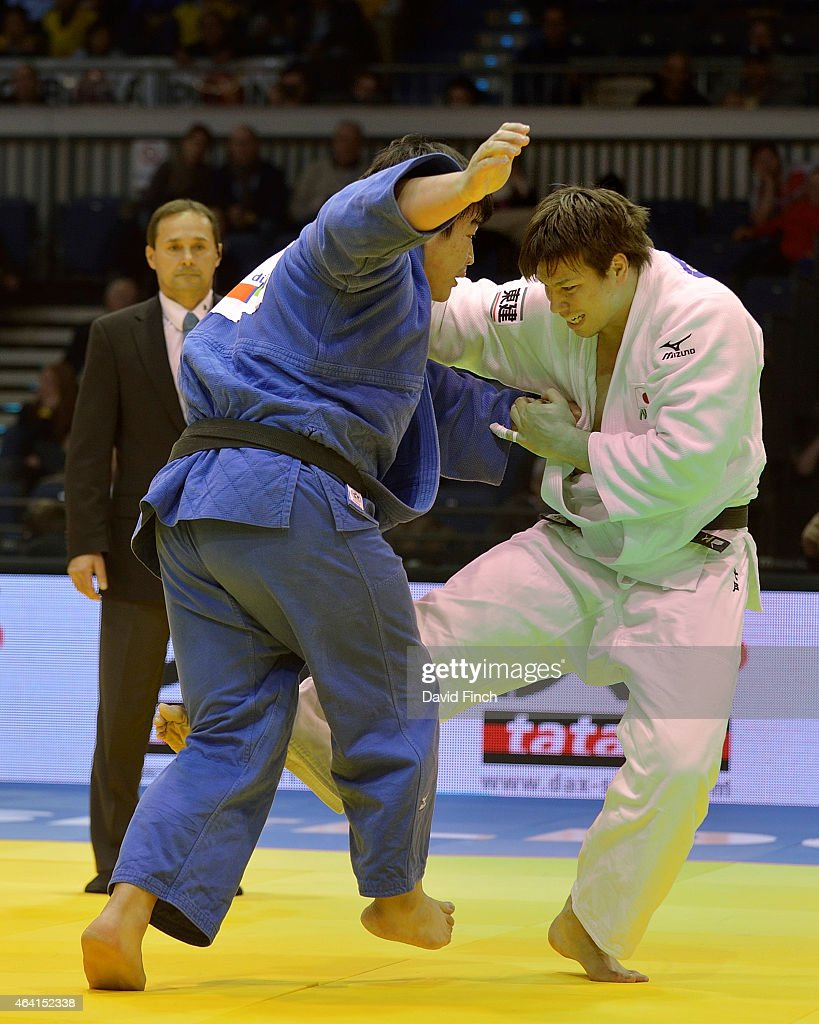 World silver medallist, <a gi-track='captionPersonalityLinkClicked' href=/galleries/search?phrase=Ryu+Shichinohe&family=editorial&specificpeople=9207686 ng-click='$event.stopPropagation()'>Ryu Shichinohe</a> of Japan (white) attacks fellow countryman, <a gi-track='captionPersonalityLinkClicked' href=/galleries/search?phrase=Takeshi+Ojitani&family=editorial&specificpeople=9207687 ng-click='$event.stopPropagation()'>Takeshi Ojitani</a>, eventually winning the o78kg gold medal during the Dusseldorf Grand Prix on Sunday, February 22 2015 at the Mitsubishi Electric Halle, Dusseldorf, Germany.