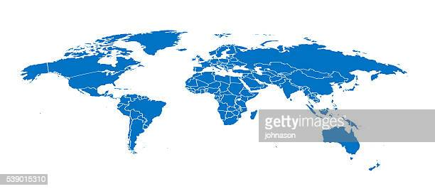 World simple blue map on white background