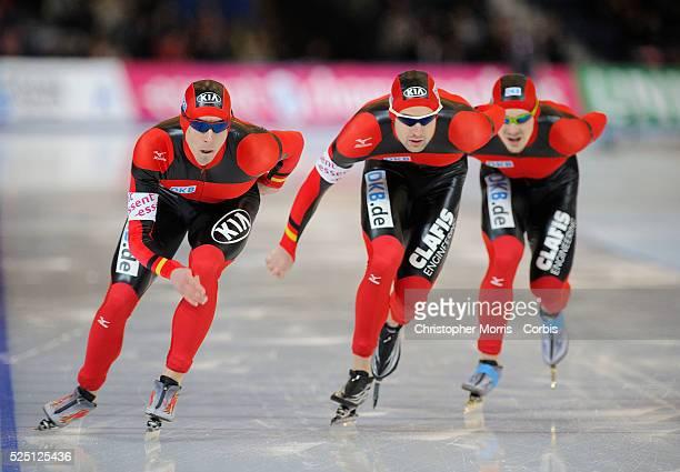 ISU World Single Distances Speed Skating Championship German team members Robert Lehmann Jorg Dallmann and Marco Weber skate in the team pursuit race...