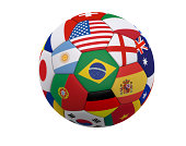 Soccer ball / Football with world flags including Brazil, Spain, England, Germany, Portugal ... isolated on a white background.