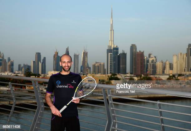 World Squash Number Seven Marwan Elshorbagy poses for a picture at Dubai Water Canal ahead of the PSA Dubai World Series Finals 2017 on March 28 2017...