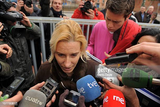 World steeplechase champion Marta Dominguez talks to the media after appearing in court for a doping investigation on December 22 2010 in Madrid...