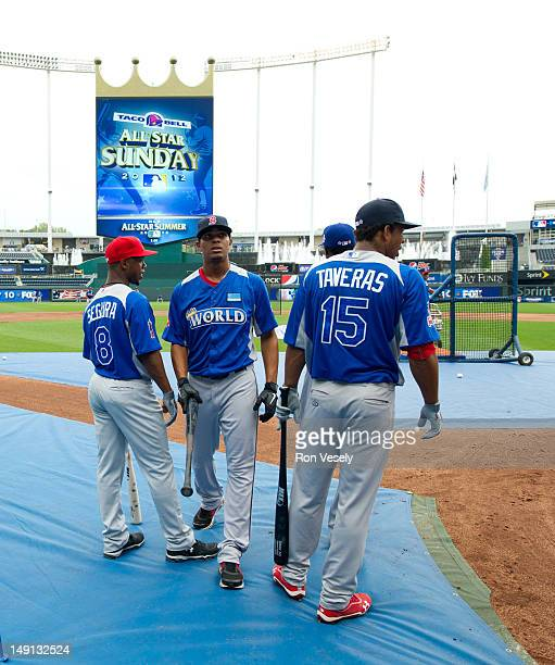 World Team Futures AllStars Jean Segura of the Los Angeles Angels of Anaheim Xander Bogaerts of the Boston Red Sox and Oscar Taveras of the St Louis...