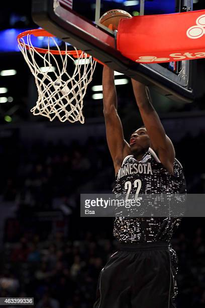 World Team's Andrew Wiggins of the Minnesota Timberwolves dunks the ball during the BBVA Compass Rising Stars Challenge as part of the 2015 NBA...