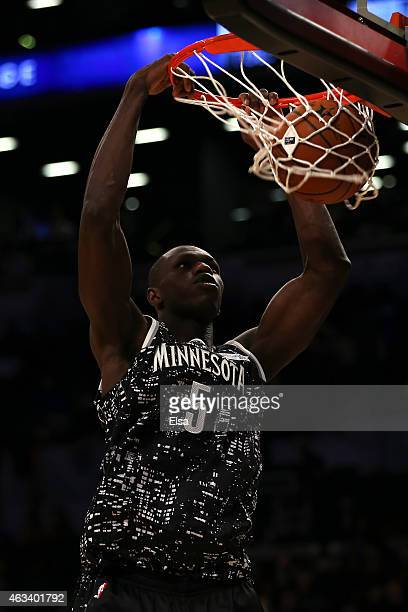 World Team's Gorgui Dieng of the Minnesota Timberwolves dunks the ball during the BBVA Compass Rising Stars Challenge as part of the 2015 NBA Allstar...