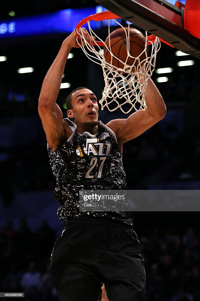 World Team's <a gi-track='captionPersonalityLinkClicked' href=/galleries/search?phrase=Rudy+Gobert&family=editorial&specificpeople=7616046 ng-click='$event.stopPropagation()'>Rudy Gobert</a> #27 of the Utah Jazz dunks the ball during the BBVA Compass Rising Stars Challenge as part of the 2015 NBA Allstar Weekend at the Barclays Center on February 13, 2015 in the Brooklyn borough of New York City.