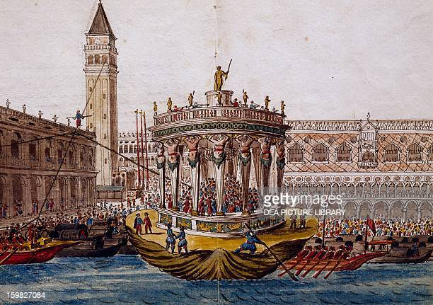 World theatre tournament in Venice by the Brotherhood of the Knights of the Garter watercolour by Giovanni Grevembroch Italy 18th century Venice...