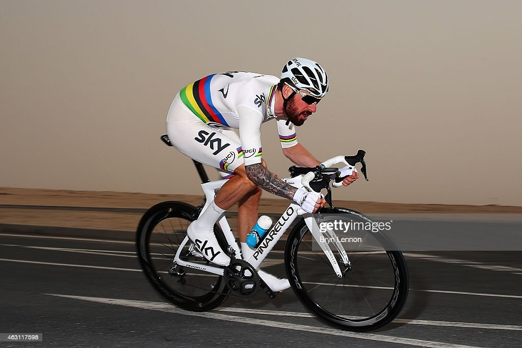 World Time Trial Champion Bradley Wiggins of Great Britain and Team SKY in action on stage three of the 2015 Tour of Qatar a 109km individual time...